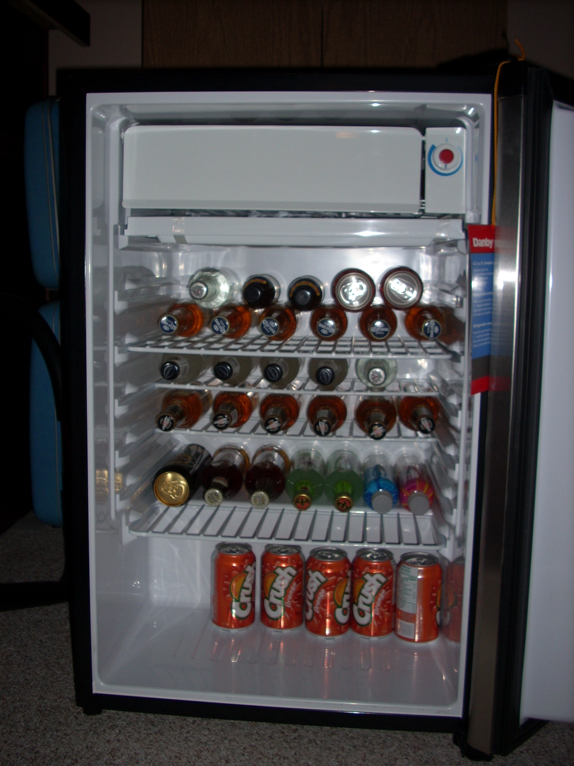 Drinks In Mini-Fridge Full Shot