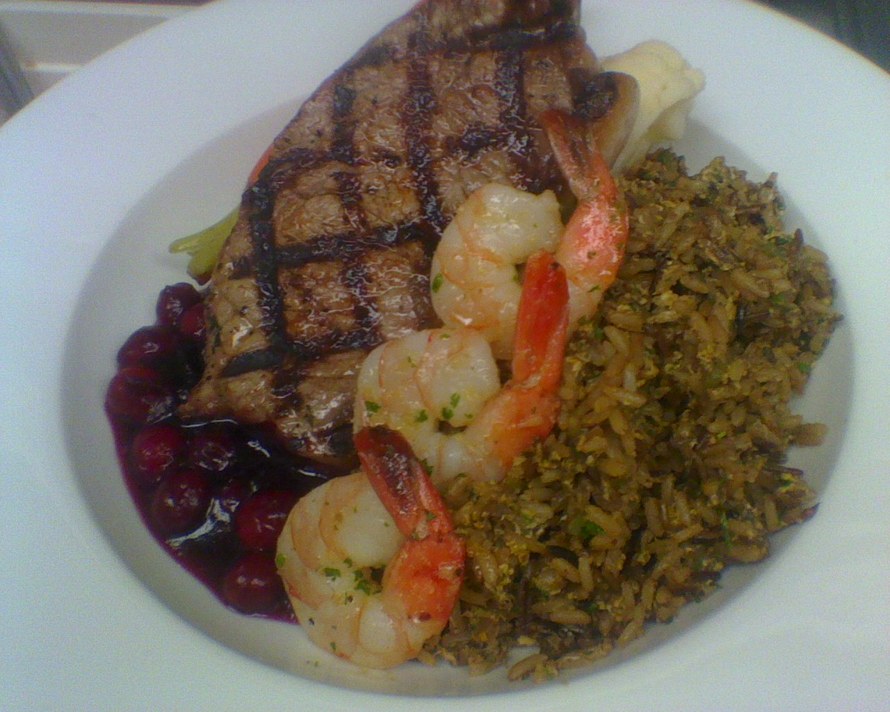 Steak And Shrimp With Cranberry Sauce