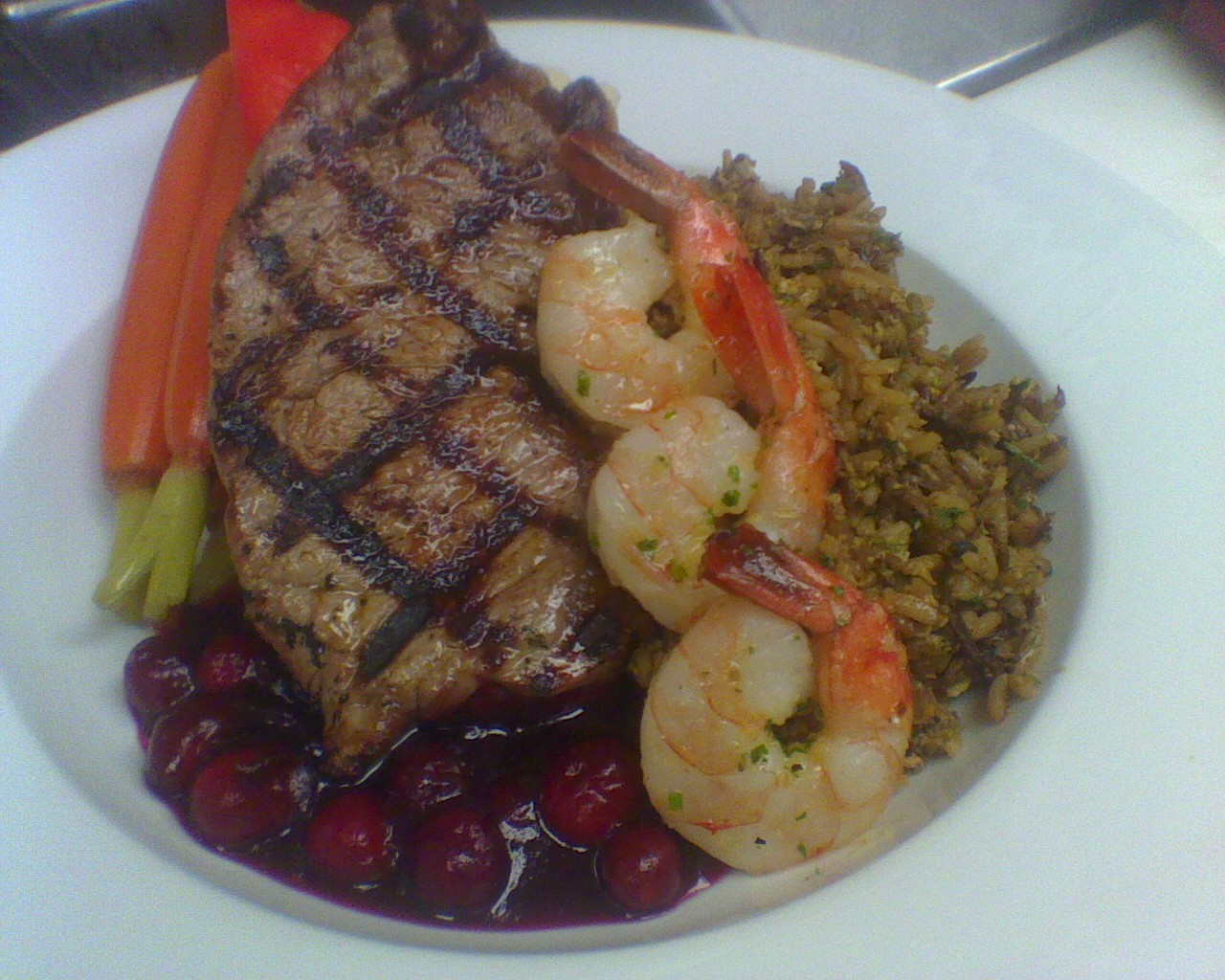 Steak And Shrimp With Cranberry Sauce 2