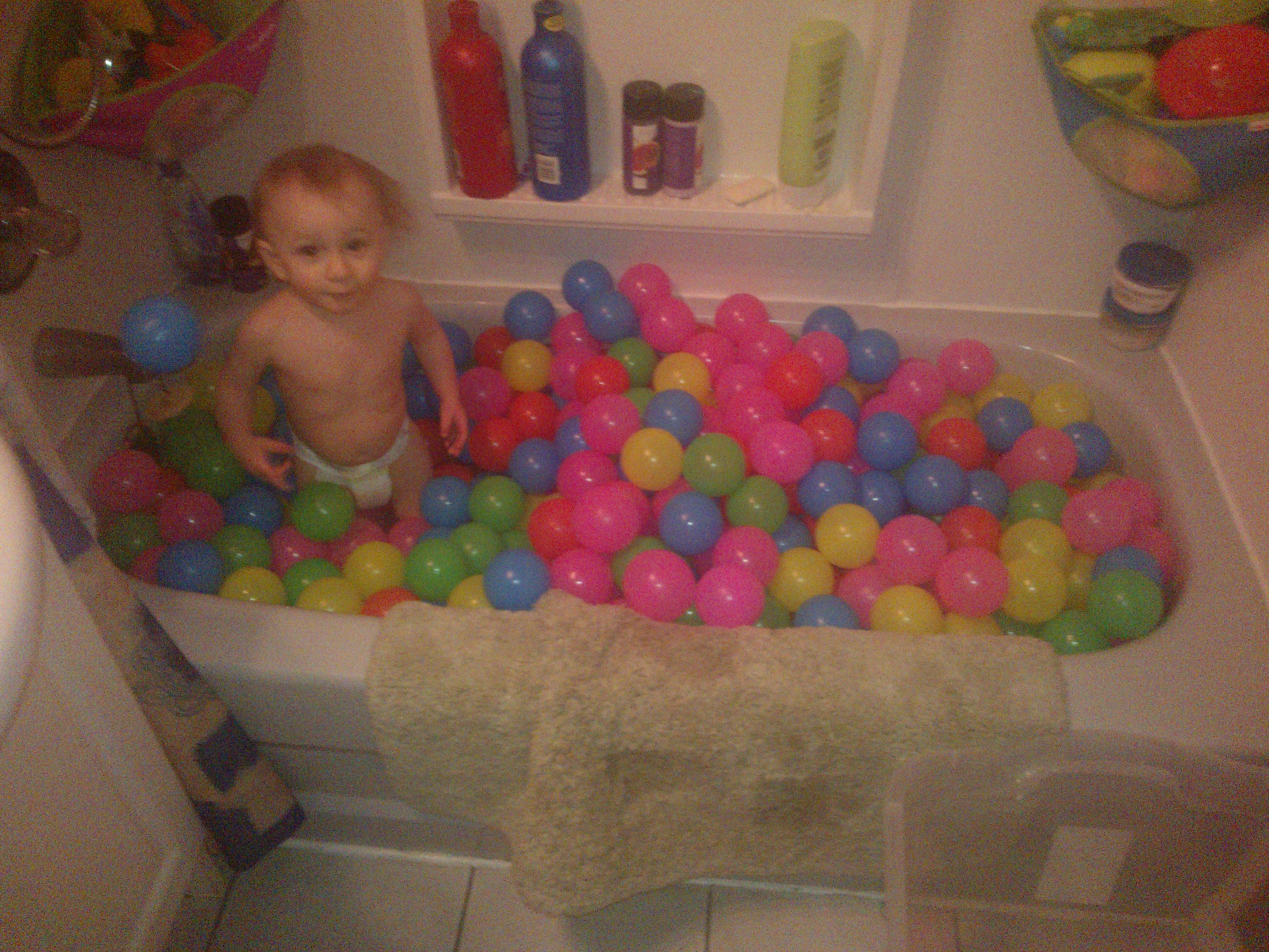 Ryder In Bathtub With His New Balls